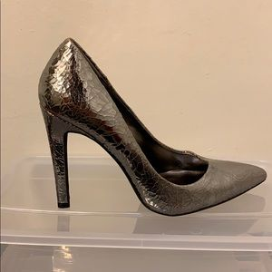 Cracked Mirrored Gunmetal Pumps